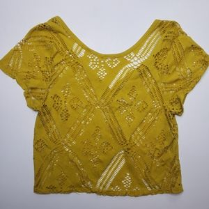 Silence and Noise Mustard Cut Detail Top
